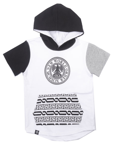 Akademiks - Boys White S/S Elongated French Terry New World Hoody (2T-4T)