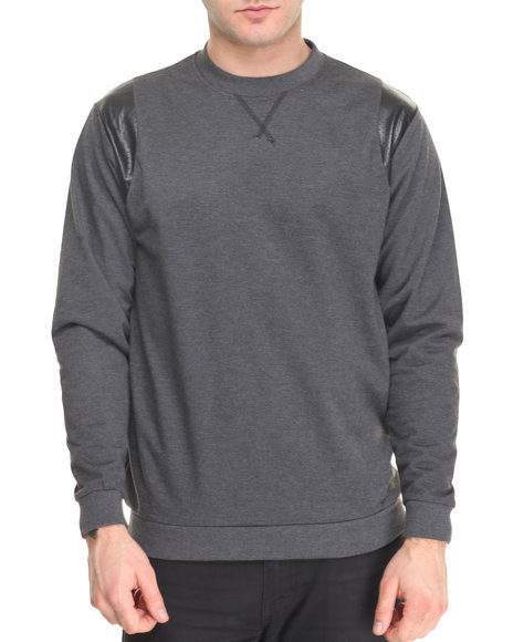 Basic Essentials - Men Charcoal French Terry Crew Neck Sweatshirt W/ Perforated Faux Leather Trim
