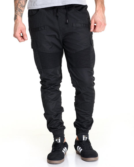 Buyers Picks - Men Black Waxed Twill Moto - Style Cargo Joggers