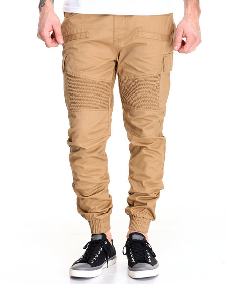 Buyers Picks - Men Wheat Waxed Twill Moto - Style Cargo Joggers