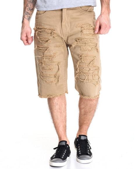 Buyers Picks - Men Khaki Heavy Rip - Off Slub Twill Shorts