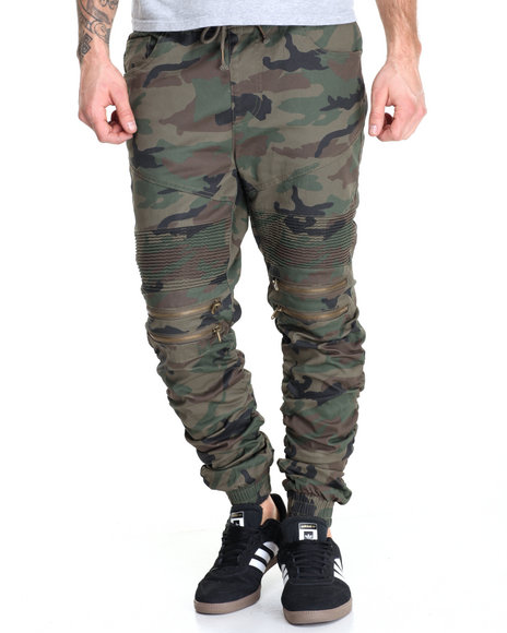 Buyers Picks - Men Camo Moto - Style Twill Joggers W/ Ruched Bottoms