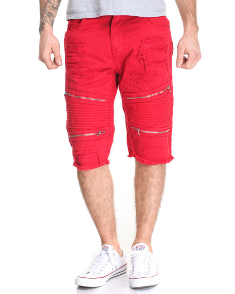 Buyers Picks - Men Red Rip - And - Repair Moto - Style Twill Shorts W/ Zipper Trim - $62.00