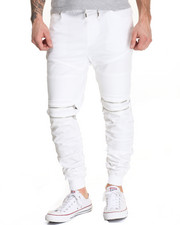 Buyers Picks - Moto - Style Twill Joggers W/ Ruched Bottoms
