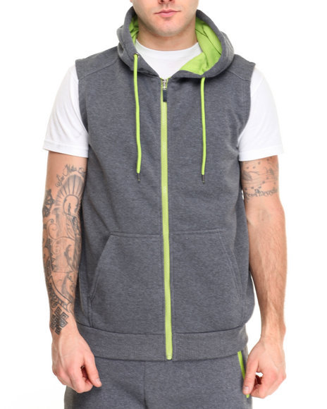 Buyers Picks - Men Lime Green,Charcoal Contrast Color Sleeveless Hoodie