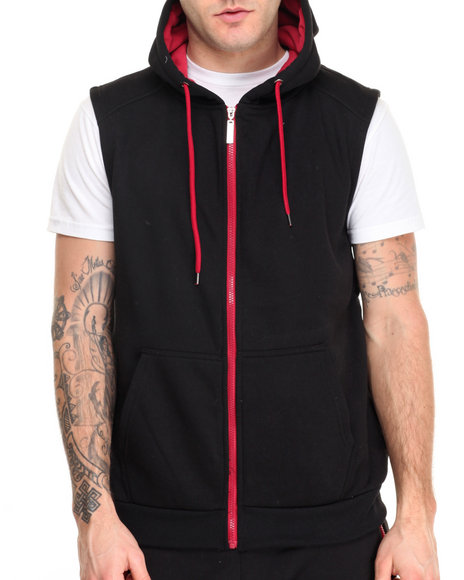 Buyers Picks - Men Black,Red Contrast Color Sleeveless Hoodie
