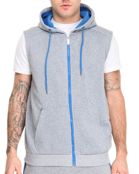 Buyers Picks - Men Blue,Grey Contrast Color Sleeveless Hoodie