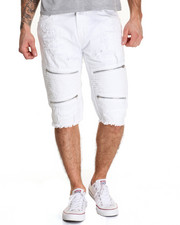Men - Rip - And - Repair Moto - Style Twill Shorts W/ Zipper Trim