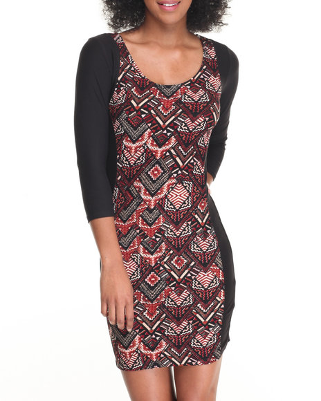 Fashion Lab - Women Multi Scoop Neck Illusion Bodycon Dress