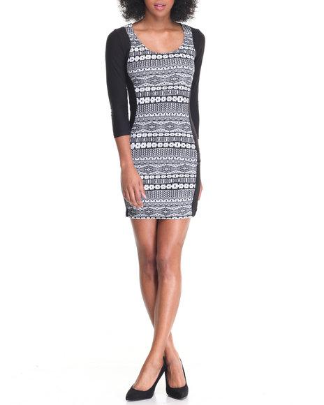 Fashion Lab - Women Black Scoop Neck Illusion Bodycon Dress - $20.00