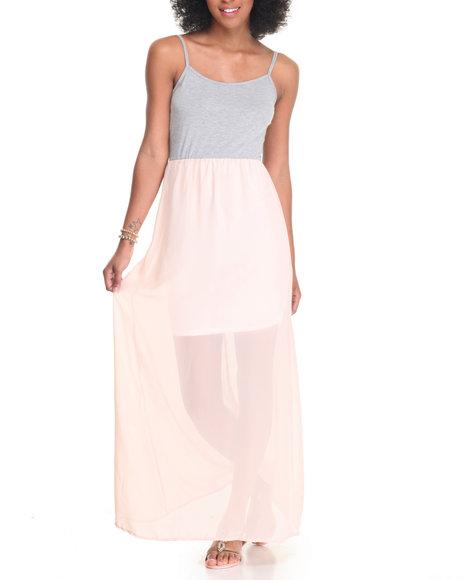 Fashion Lab Women Spaghetti Strap Knit Top Chiffon Bottom Maxi Dress Coral Medium