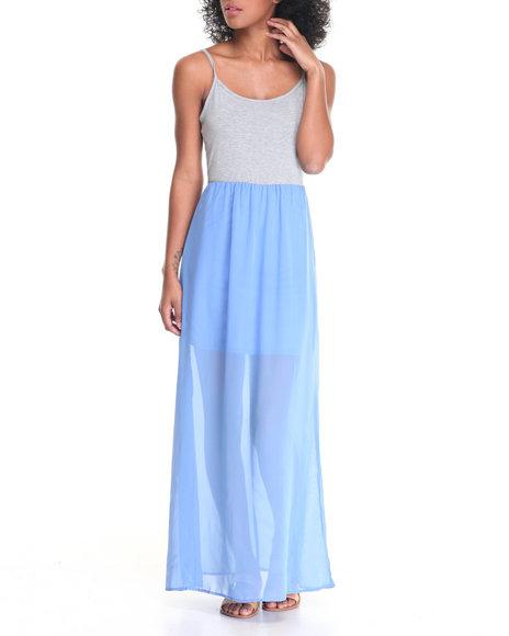 Fashion Lab - Women Blue Spaghetti Strap Knit Top Chiffon Bottom Maxi Dress