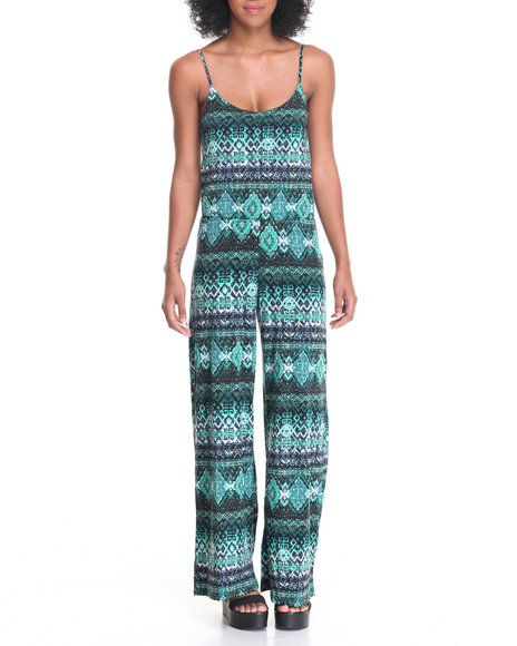 Fashion Lab - Women Multi Blousson Top Palazzo Leg Bottom Jumpsuit