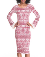 Fashion Lab - Double X Back Bodycon Peached Dress w/ Crochet Trimmed Bell Sleeve