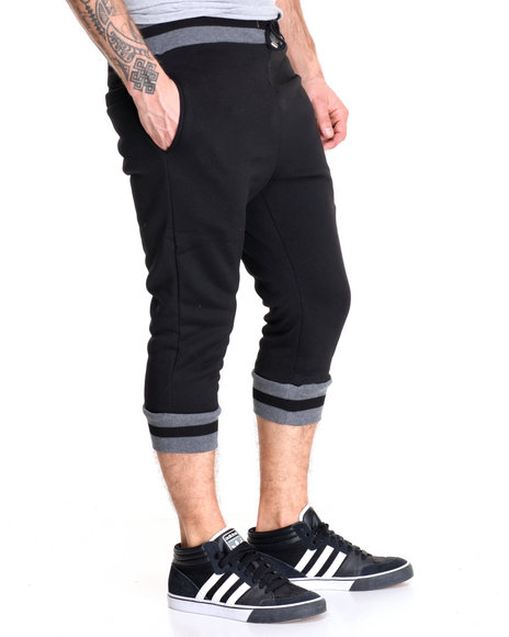 Buyers Picks - Men Black / Smoke Varsity Stripe Crop Jogger