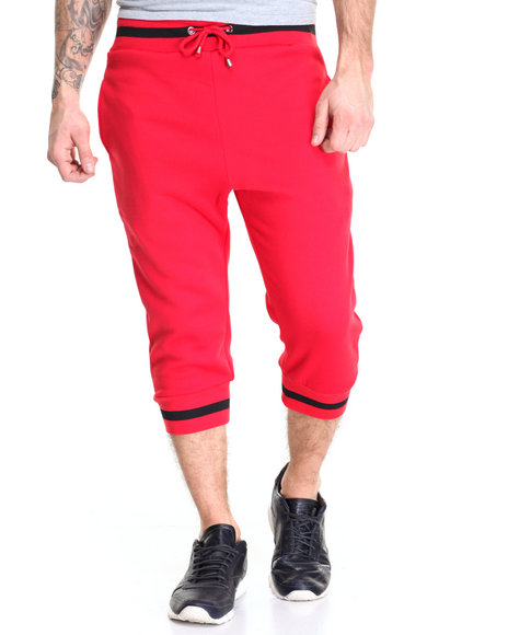 Buyers Picks - Men Red Varsity Stripe Crop Jogger