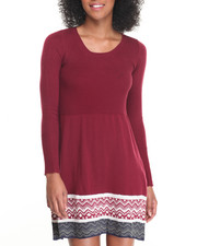 Fashion Lab - Skater Sweater Dress w/ Rib Bodice and Jacquard Border Print