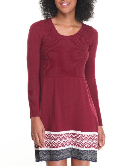 Fashion Lab Women Skater Sweater Dress W/ Rib Bodice And Jacquard Dark Red Large