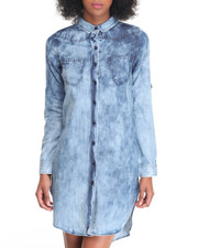 Dresses - Cloud Wash Denim Shirt Dress