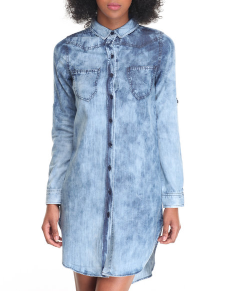Soho Babe - Women Indigo Cloud Wash Denim Shirt Dress