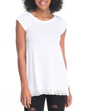 Fashion Lab - Jersey Crew Neck Swing Tee w/ Crochet Hem