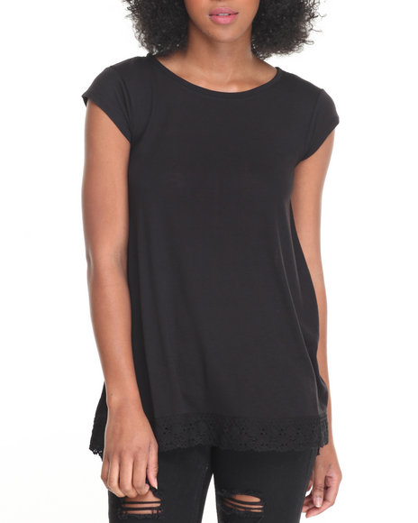 Fashion Lab - Women Black Jersey Crew Neck Swing Tee W/ Crochet Hem