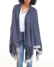 Fashion Lab - Hooded Fringed Open Poncho