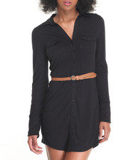 Fashion Lab - Rib Panel Braided Belt Knit Shirt Dress