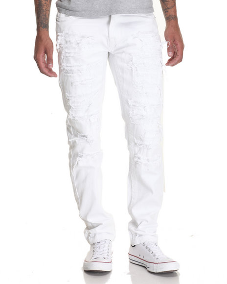 Buyers Picks - Men White Heavy Rip - And - Repair Twill Pants