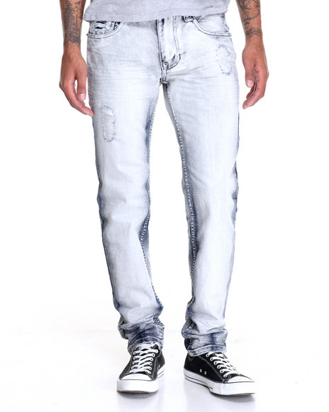 Buyers Picks - Men Light Wash Rip - Off Moto - Style Denim Jeans W/ Zipper Trim