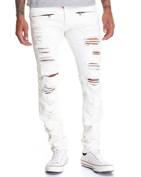 Buyers Picks - Men White Rip Off Biker Denim Jeans