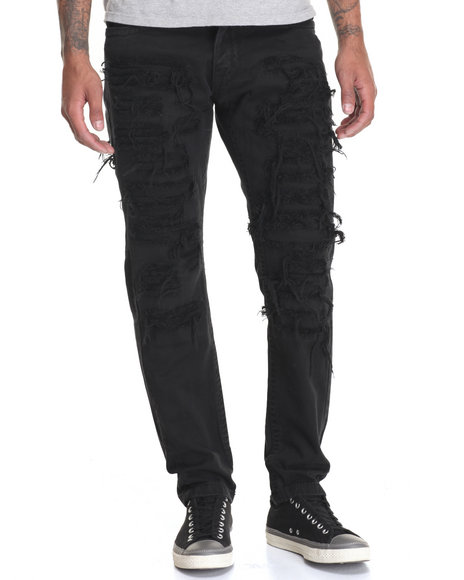 Buyers Picks - Men Black Heavy Rip - And - Repair Twill Pants