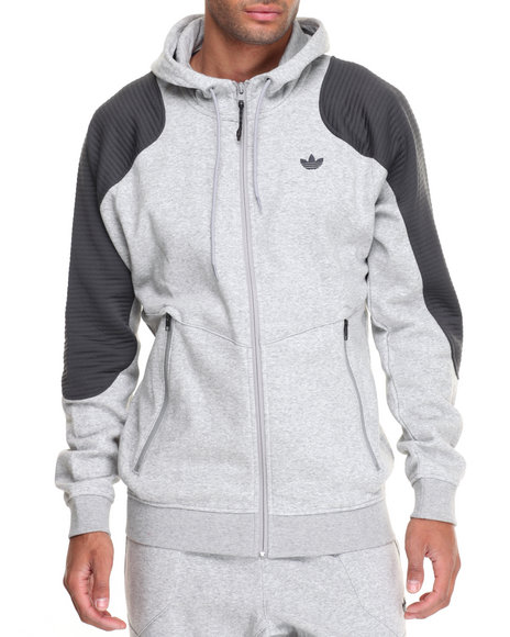 Adidas - Men Grey Sport Luxe Moto Zip - Up Hoodie