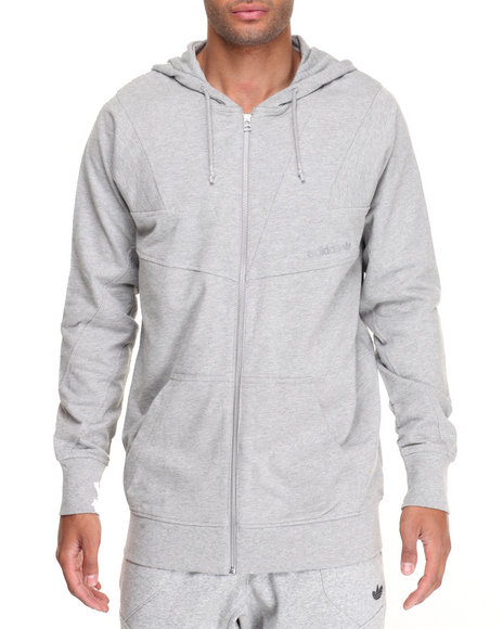 Adidas Men Modern Cutline Zip Hoodie Grey XLarge