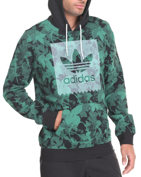Adidas Men Poison Ivy League A O P Pullover Hoodie Green Large