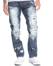 Men - Sewn Up Rip - And - Repair Denim Jeans