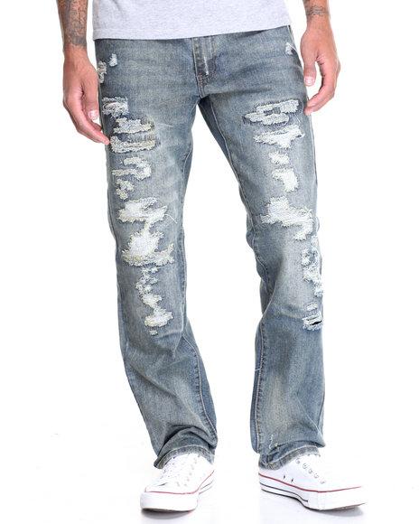 Winchester Men Rip And Repair Denim Jeans Medium Wash 36