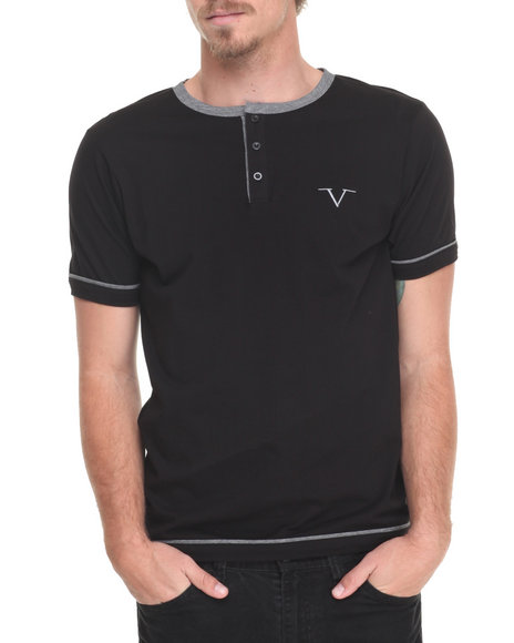 Versace 19.69 - Men Black Core Crew Button T-Shirt - $48.00