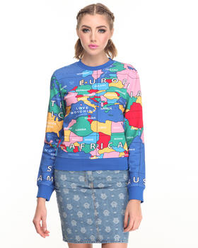 -FEATURES- - GLOBE PRINT SWEATSHIRT