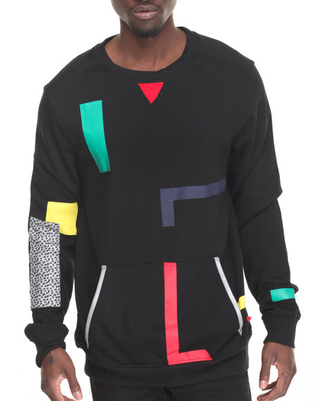 Bass By Ron Bass - Men Black Color Tape Crewneck Sweatshirt