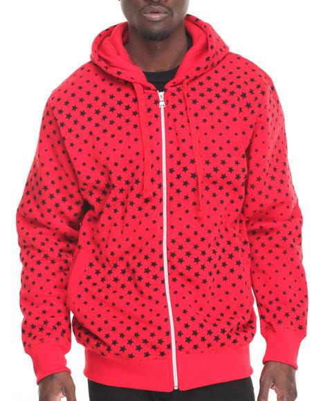 Basic Essentials - Men Red Stars Fleece Printed Full Zip Hoodie
