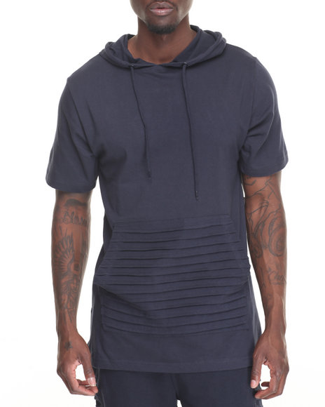 Buyers Picks - Men Navy S/S Elongated Hoodie