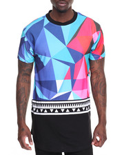 Buyers Picks - Geometric Print Mesh Tee - Blue