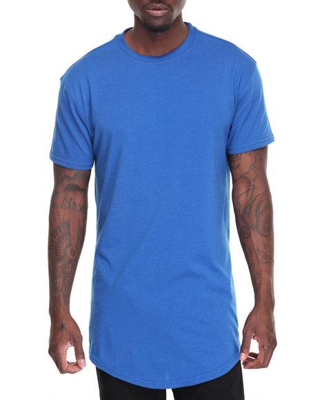Buyers Picks - Men Blue Long Length Tee W Side Zipper