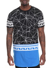 Men - Geometric Print Mesh Tee - Back