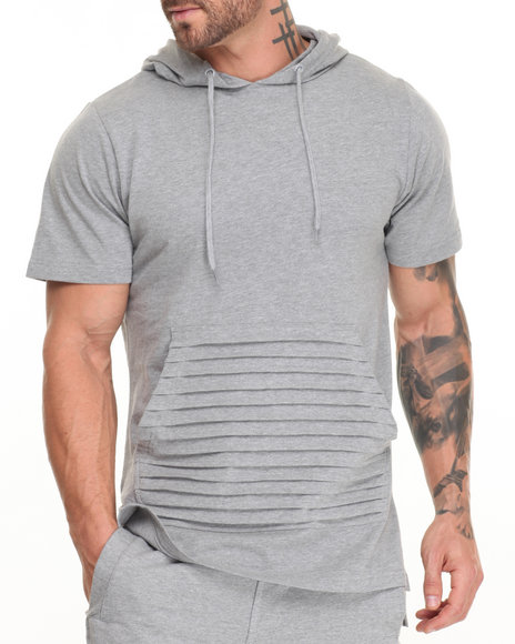 Buyers Picks - Men Light Grey S/S Elongated Hoodie