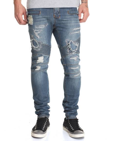 American Natives Men Hypermotard Destructed Denim Jeans Medium Wash 30