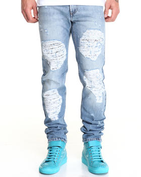 Straight - Distressed Jeans w Chain Print Underlay