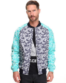 Jackets & Coats - Colorblock Camo Jaquard Bomber Jacket