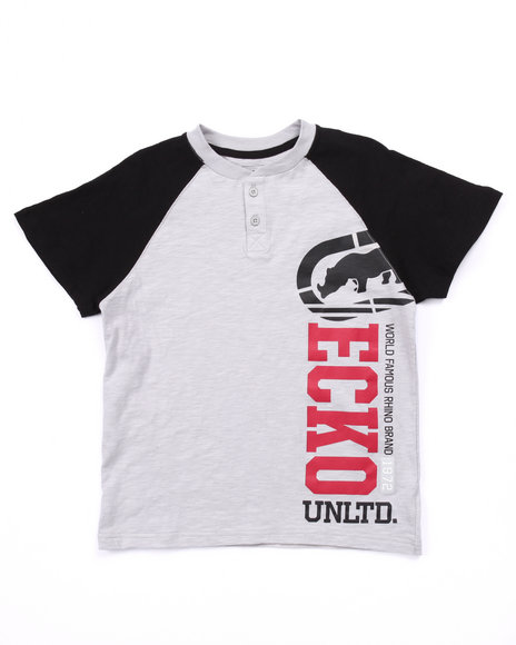 Ecko - Boys Light Grey S/S Ecko Unltd Henley (8-20)